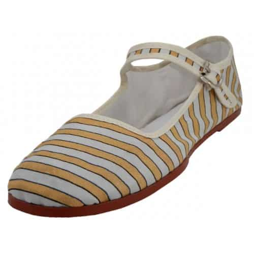 Yellow Stripe Cotton Mary Jane Shoes