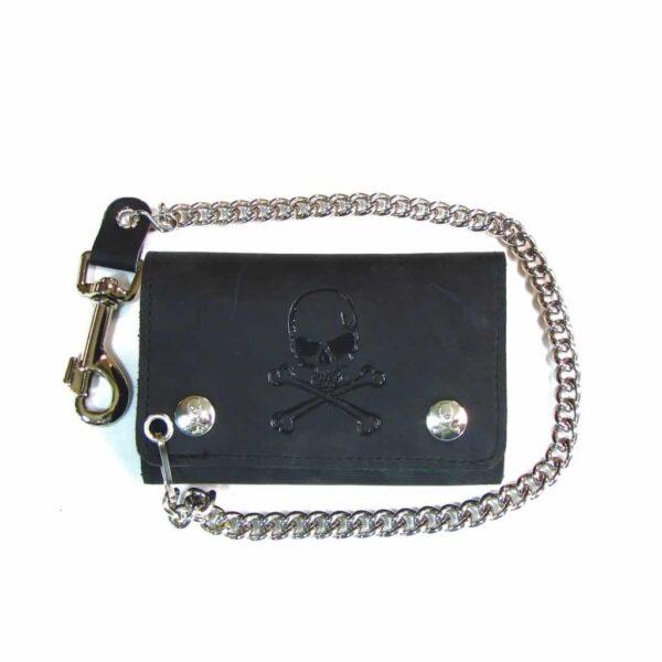 skull crossbones tri-fold wallet chain