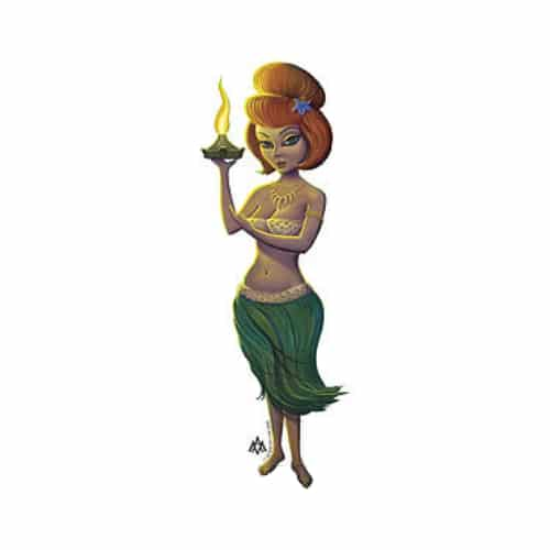Aaron Marshall Red Head Hula Girl Sticker