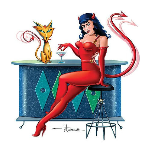 Doug Horne Devil Girl and Her Cat Sticker