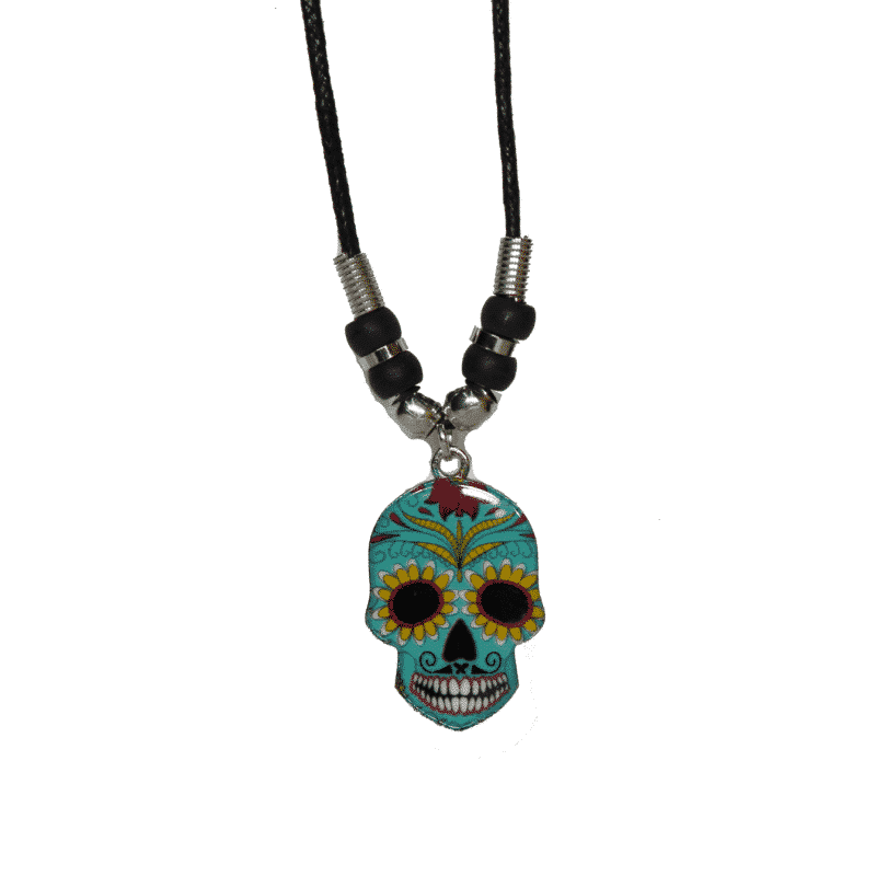 Cyan Sugar Skull Necklace