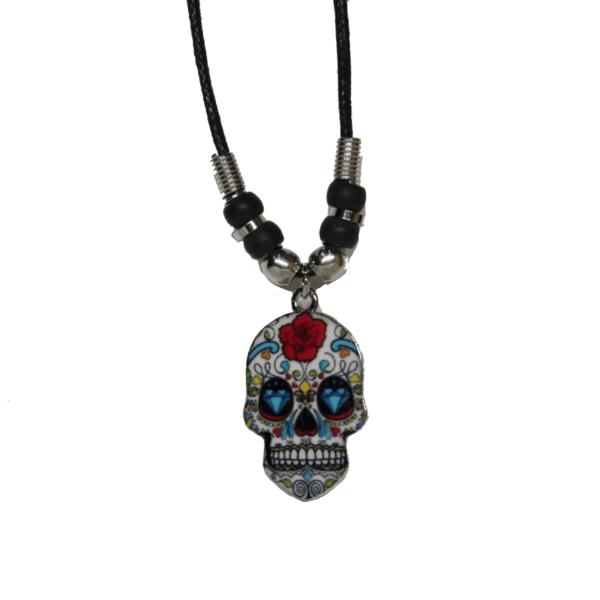 White Sugar Skull Necklace