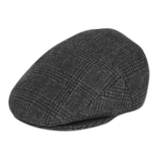 Black Plaid Wool Ivy Hat