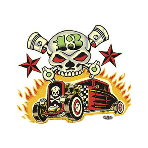 Vince Ray Skulls n Rods Sticker