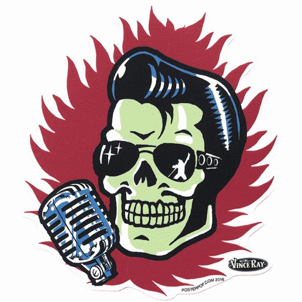 Vince Ray Elvis Skull Sticker