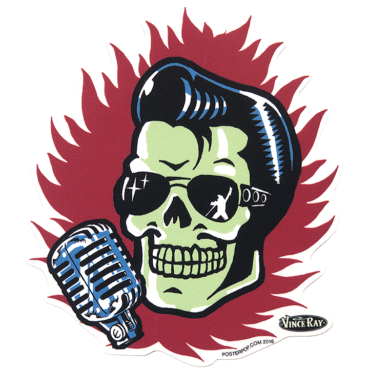 Vince Ray Elvis Skull Sticker