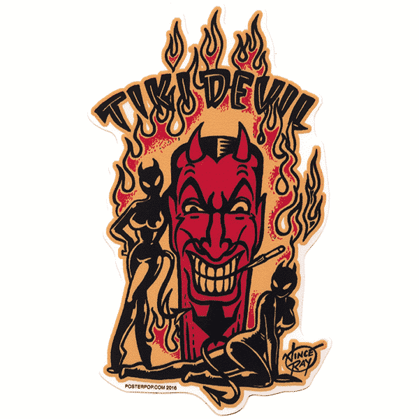 Vince Ray Tiki Devil Sticker