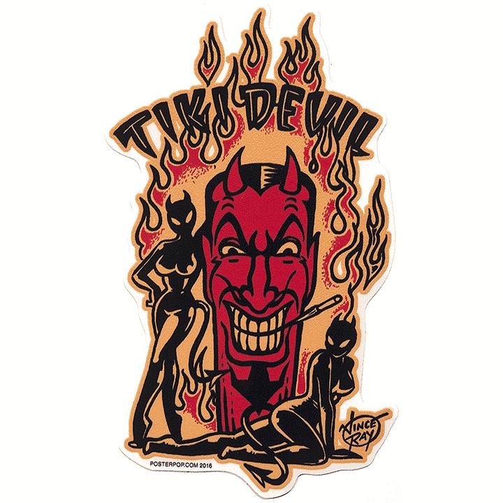 Vince Ray Tiki Devil Sticker