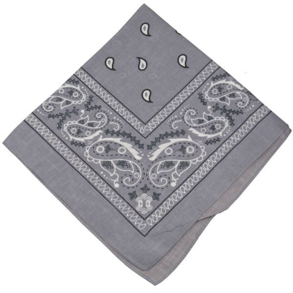 Gray Paisley Cotton Bandana