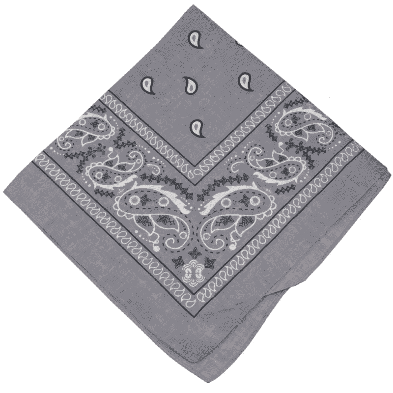 Gray Paisley Cotton Bandana