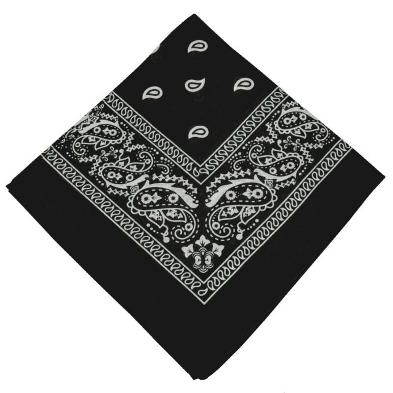 Black Paisley Cotton Bandana 21""