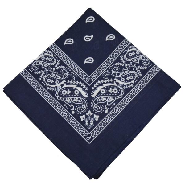Navy Paisley Cotton Bandana 21""