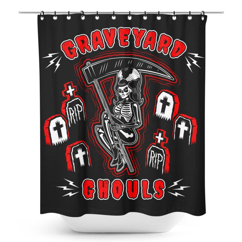 Graveyard Ghouls Shower Curtain by Sourpuss Clothing 1