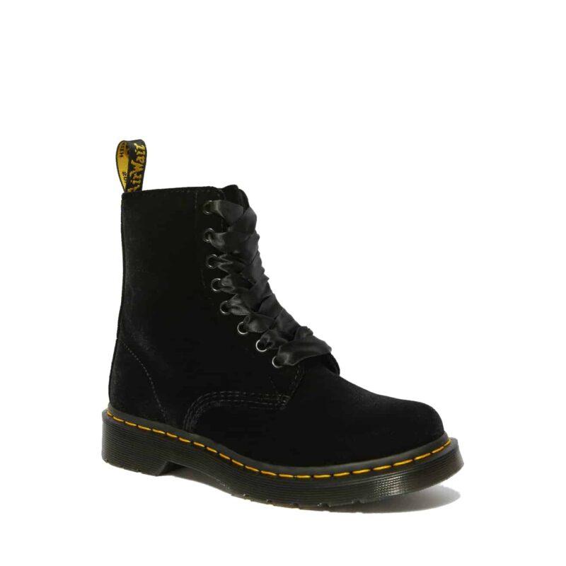 1460/24329001 Black Pascal Velvet 8-Eye Boot 1