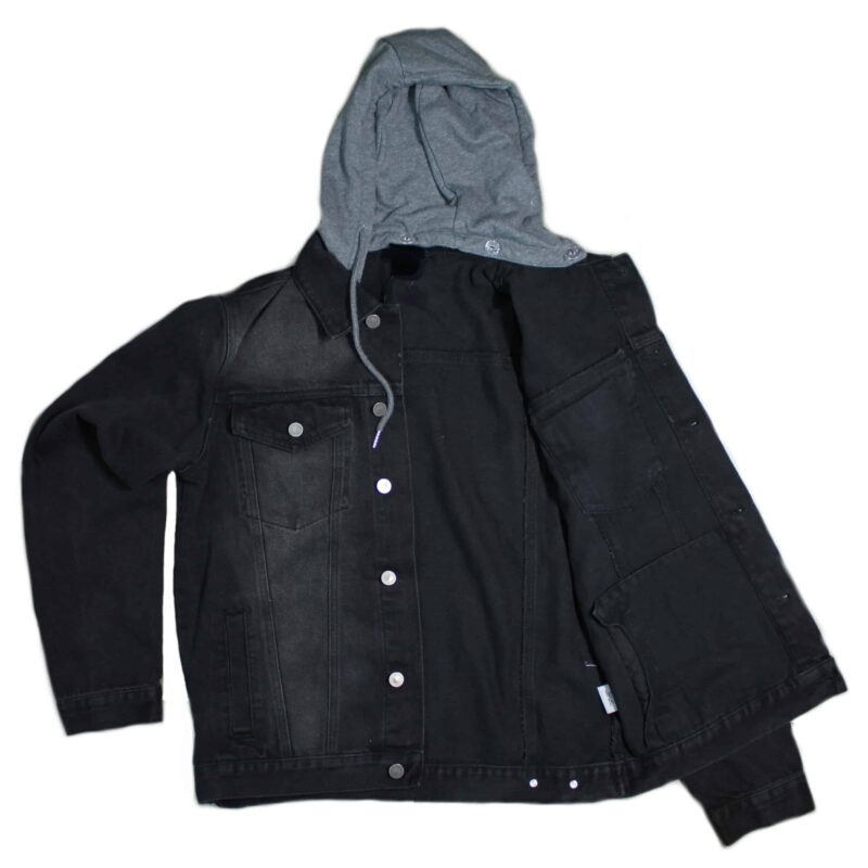 Black Denim Jacket w/ Detachable Hoodie 4