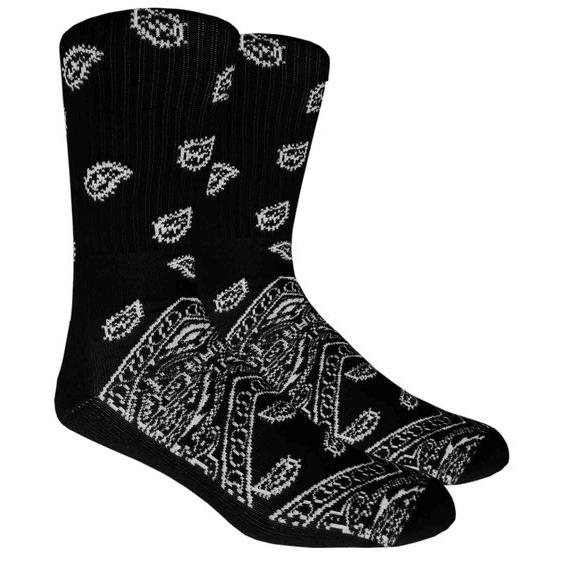 Black Paisley Crew Socks