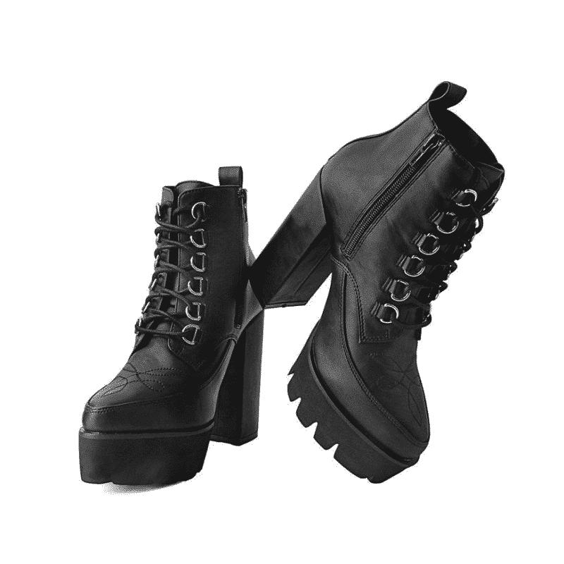 T.U.K. Black 6-Ring Patent Platform Heel A9698L