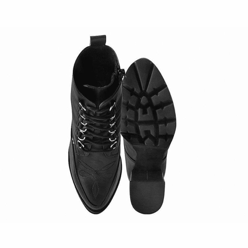 TUK Black Platform Heel 6-Ring A9689L 3