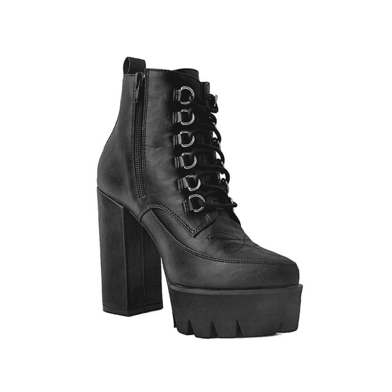 TUK Black Platform Heel 6-Ring A9689L 2