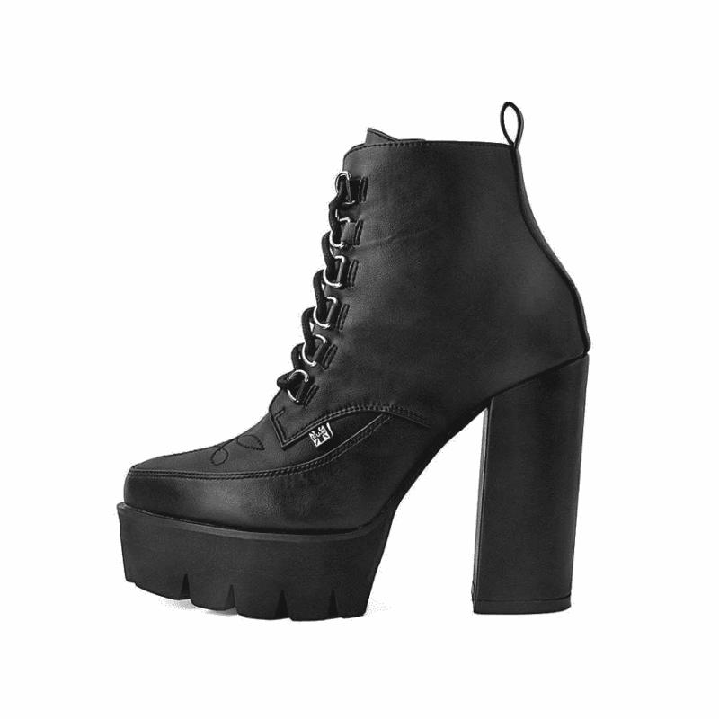 TUK Black Platform Heel 6-Ring A9689L 1