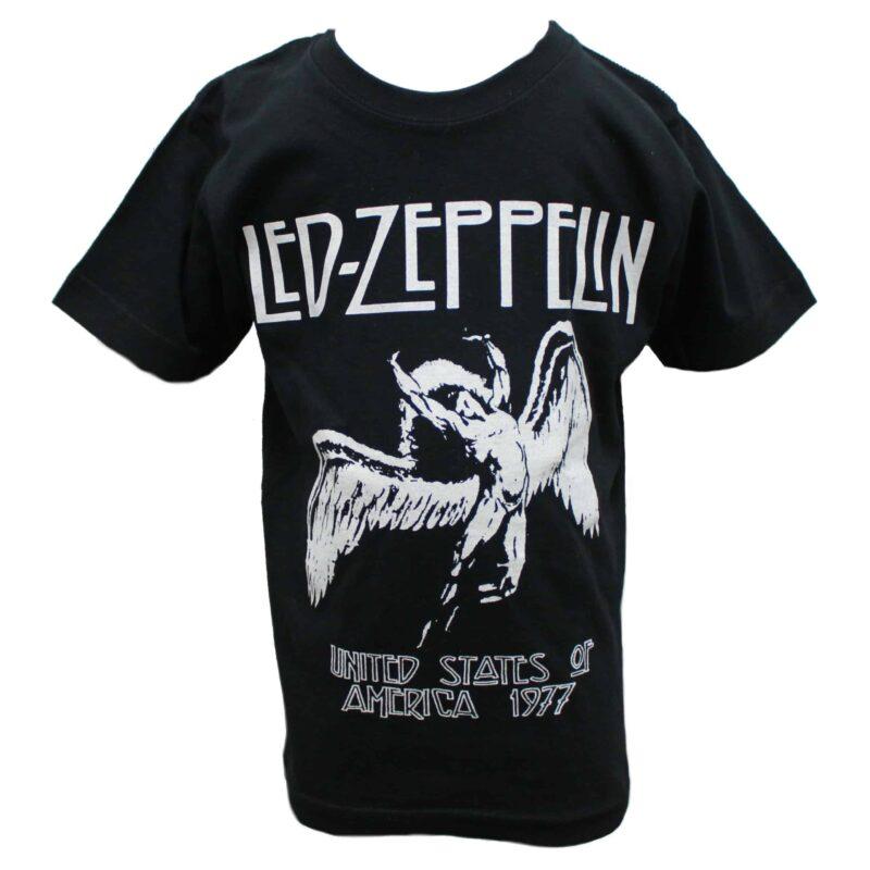 Led Zeppelin USA 1977 Kids Black T-Shirt 1