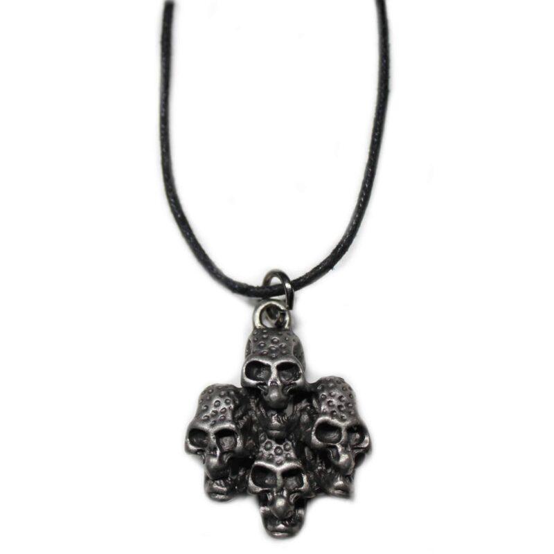 4 Bundled Metal Skulls Necklace