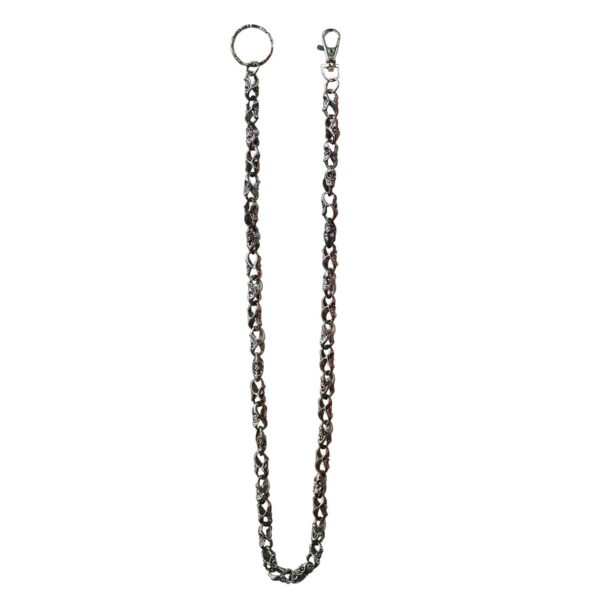 Small Chrome Skull Wallet Chain 31""