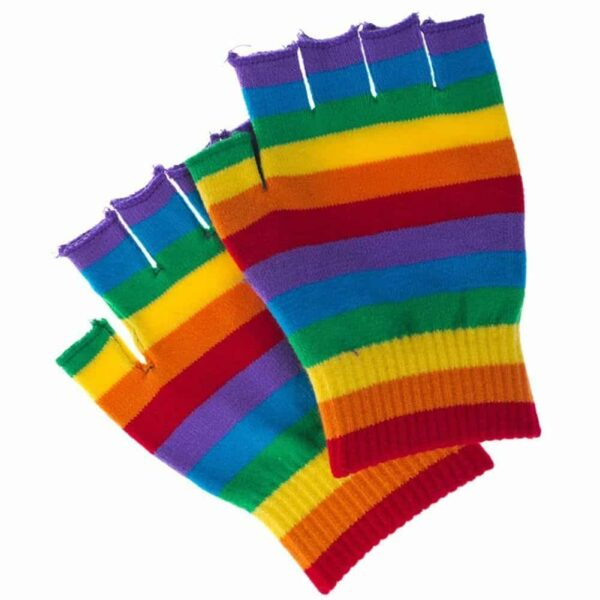Rainbow Striped Fingerless Gloves