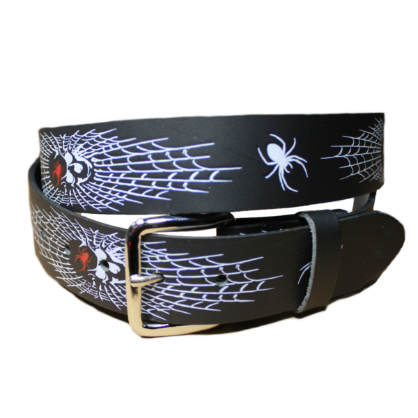 Black Leather Spiderweb Belt