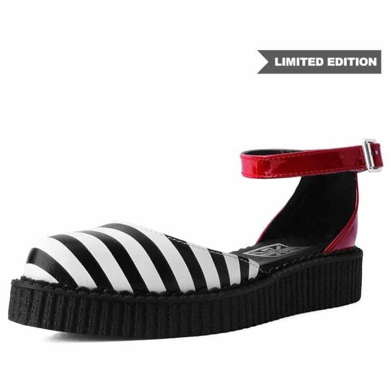 TUK Stripe Red Pointed Sandal Creeper A9615