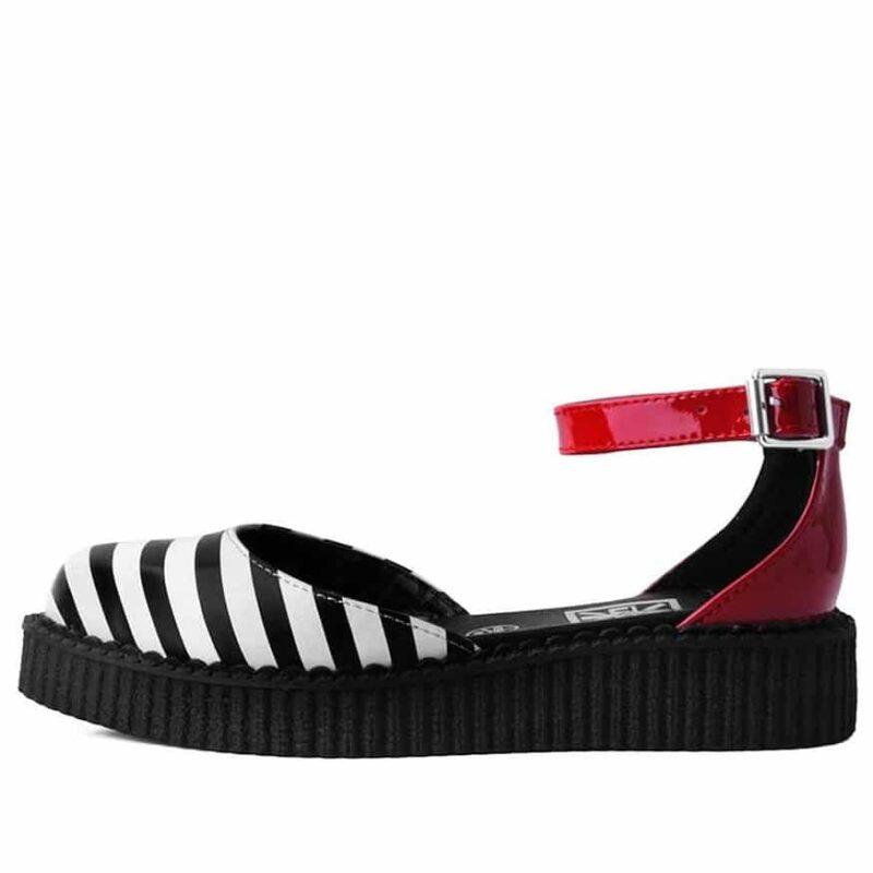 TUK Stripe Red Pointed Sandal Creeper A9615 3