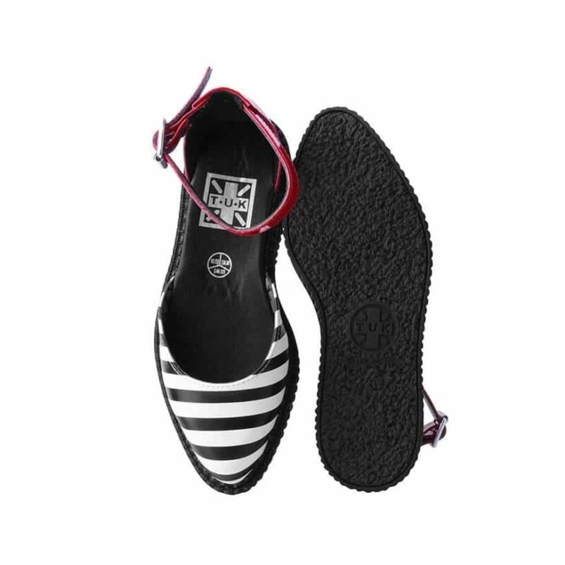 TUK Stripe Red Pointed Sandal Creeper A9615 4