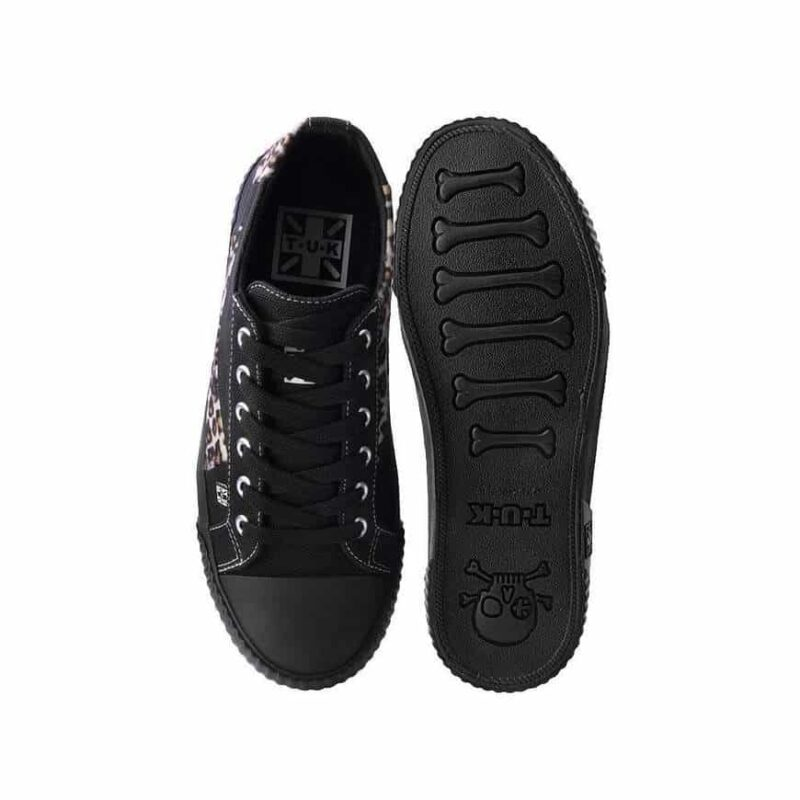 TUK Black and Leopard Low Top Sneaker A9693 3