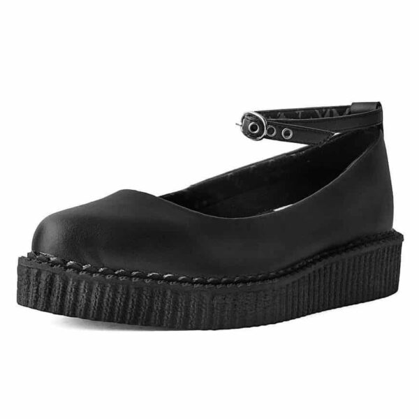 TUK Black Vegan Ballet Creeper Ankle Strap A9416