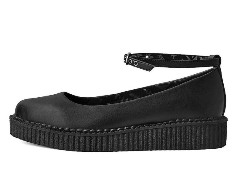 TUK Black Vegan Ballet Creeper Ankle Strap A9729 2