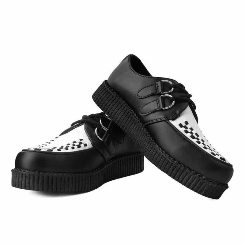 TUK Black and White Vegan Low Sole Creeper F9681 1