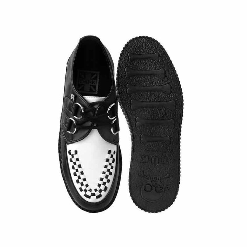 TUK Black and White Vegan Low Sole Creeper F9681 3