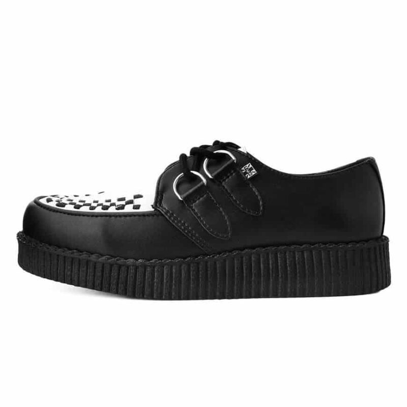 TUK Black and White Vegan Low Sole Creeper F9681 2