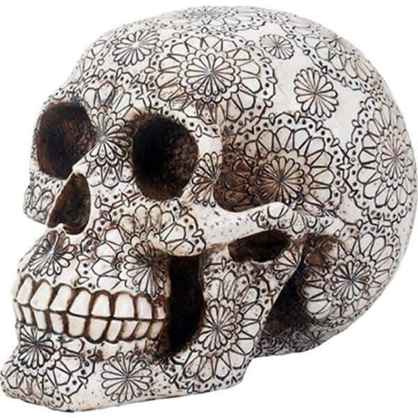 Gothic Floral Pattern Skull Head