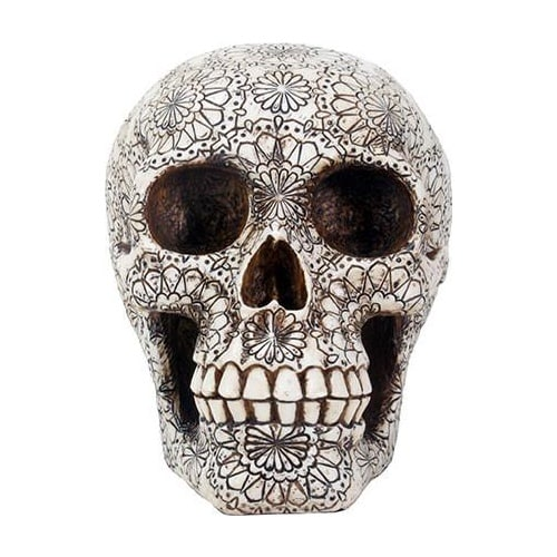 Gothic Floral Pattern Skull Head 1