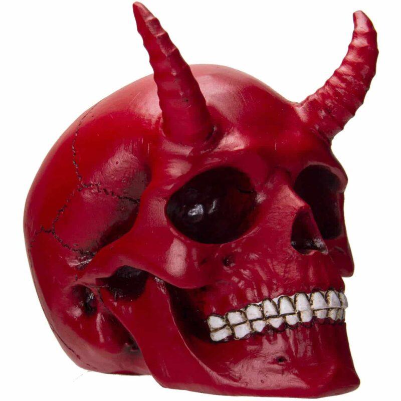 Red Horned Skull Figurine