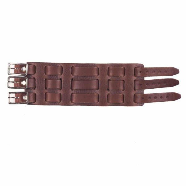 3 Strap Brown Leather Wrist Cuff
