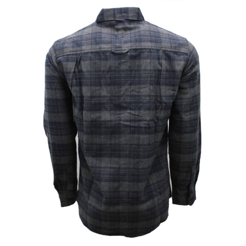 Charcoal and Navy Plaid Flannel 1