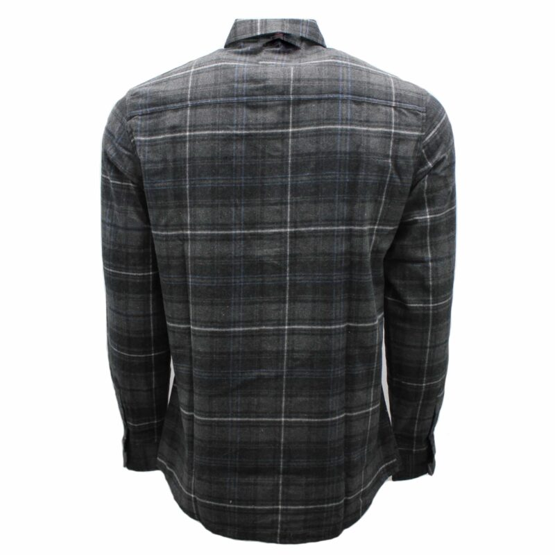Gray and Navy Plaid Flannel 1