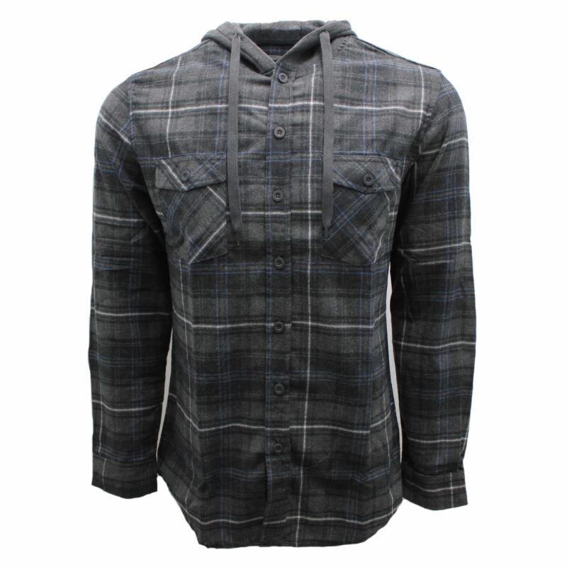 Gray and Navy Hooded Flannel