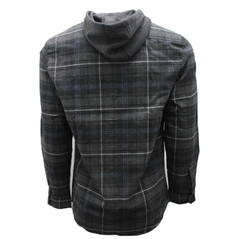 Gray and Navy Hooded Flannel 1
