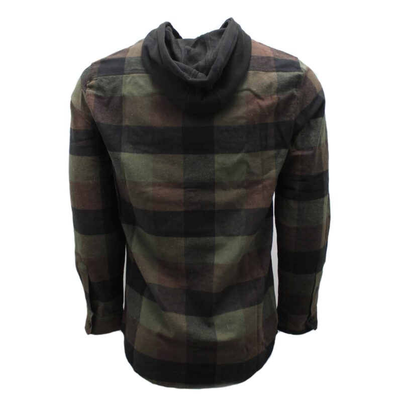 Green and Brown Hooded Flannel 1