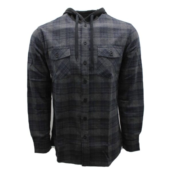 Charcoal and Navy Hooded Flannel