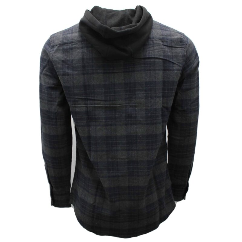 Charcoal and Navy Hooded Flannel 1