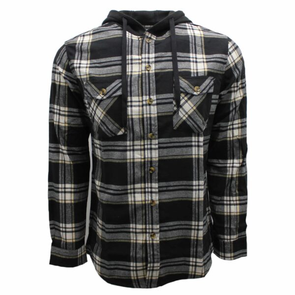 Black and White Hooded Flannel